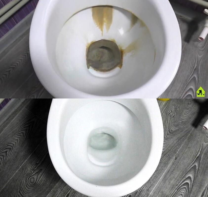отмываем унитаз от водного камня